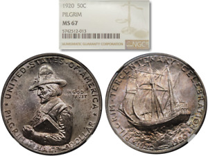 Click now to see the BUY IT NOW Price! BEAUTIFULLY TONED 1920 PILGRIM 50C COMMEMORATIVE HALF DOLLAR NGC MS 67