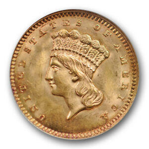1862 G$1 GOLD DOLLAR NGC MS 63 UNCIRCULATED PRINCESS HEAD OLD FATTY HOLDER