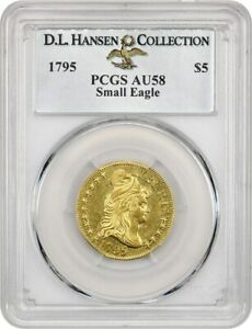 Click now to see the BUY IT NOW Price! 1795 SMALL EAGLE $5 PCGS AU58 EX: D.L. HANSEN    AND POPULAR SMALL EAGLE $5