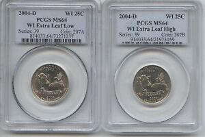 2004 D WISC. 2PC. SET   LOW & HIGH LEAF QUARTERS NGC MS 64