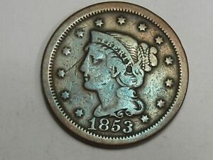 1853 US BRAIDED HAIR LARGE CENT COIN.  31