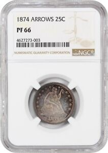 1874 25C NGC PR 66  ARROWS   PROOF TYPE COIN   LIBERTY SEATED QUARTER
