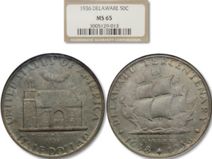 VERY NICELY TONED 1936 50C DELAWARE SILVER COMMEMORATIVE NGC MS 65