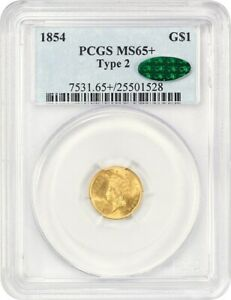Click now to see the BUY IT NOW Price! 1854 G$1 PCGS/CAC MS65   TYPE 2   TYPE 2 VARIETY   1 GOLD COIN