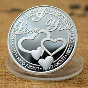 LOVE AUSPICIOUS METAL CRAFT COIN SILVER PLATED GOLD PLATED COMMEMORATIVE COIN