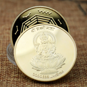INDIAN GODDESS LAKSHMI GOLD PLATED TAI CHI FENG SHUI BUDDHA COMMEMORATIVE COIN
