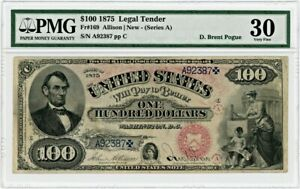 Click now to see the BUY IT NOW Price! FR. 169 1875 $100 LEGAL TENDER PMG VF30 EX: POGUE  MINOR RESTORATION SMALL TEAR