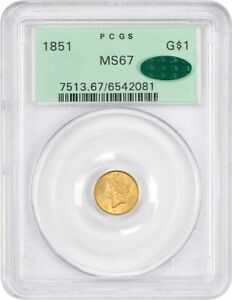Click now to see the BUY IT NOW Price! 1851 G$1 PCGS/CAC MS67  OGH  AMAZING COIN    1 GOLD COIN   AMAZING COIN