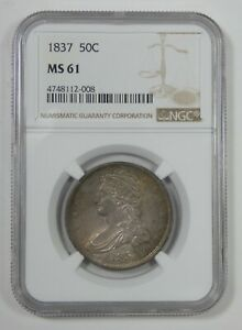 1837 CAPPED BUST/REEDED EDGE HALF DOLLAR CERTIFIED NGC MS 61 SILVER 50 CENTS