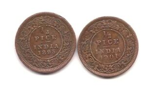 1895 & 1901 BRITISH INDIA 1/2 PICE    STRONG DETAILS