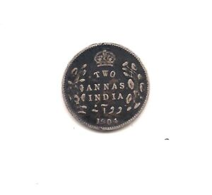1904 BRITISH INDIA SILVER 2 ANNAS    VERY STRONG DETAILS