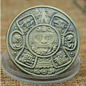 MAYAN AZTEC CALENDAR SOUVENIR FORECAST COMMEMORATIVE COIN ART COLLECTION GIFT