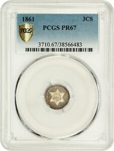 1861 3CS PCGS PR 67    CIVIL WAR DATE   3 CENT SILVER    CIVIL WAR DATE