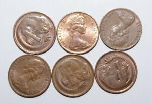 1970'S 1 CENT AUSTRALIA A LOT OF 6 HIGH VALUE COINS 22