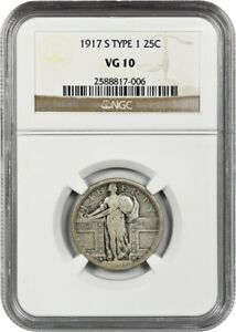 1917 S TYPE 1 25C NGC VG 10   STANDING LIBERTY QUARTER   POPULAR S MINT