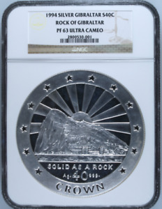 Click now to see the BUY IT NOW Price! 1994 GIBRALTAR S40C SOLID AS A ROCK 40OZ OVER KILO SILVER COIN NGC PF63UC