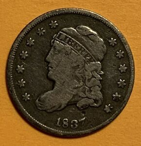 1837 CAPPED BUST HALF DIME.  SMALL 5C. VARIETY.
