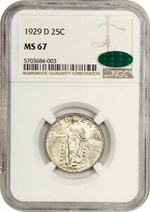 1929 D 25C NGC/CAC MS67   STANDING LIBERTY QUARTER   SUPERB GEM