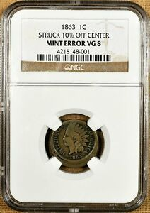 1863 NGC VG08 10  OFF CENTER INDIAN CENT