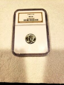 1944 S MERCURY DIME  NGC MS 66