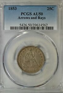 1853 SEATED QUARTER ARROWS AND RAYS PCGS AU50