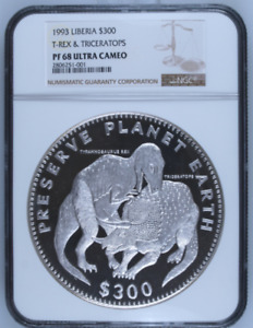 Click now to see the BUY IT NOW Price! 1993 KILO LIBERIA SILVER S$300 T REX & TRICERATOPS NGC PF68UC MINTAGE 151 ONLY