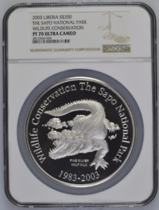 Click now to see the BUY IT NOW Price! 2003 HALF KILO LIBERIA 500G SILVER S$200 WILDLIFE CONSERVATION NGC PF70UC