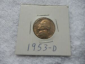 1953 D JEFFERSON NICKEL CIRCULATED   PERFECT FOR COIN BOOKS