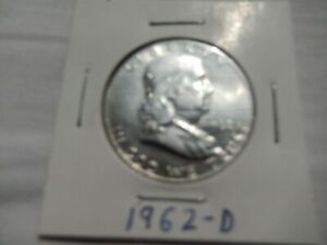 1962 D FRANKLIN SILVER HALF DOLLAR CIRCULATED   PERFECT FOR COIN BOOKS