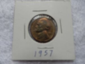 1957 JEFFERSON NICKEL CIRCULATED   PERFECT FOR COIN BOOKS