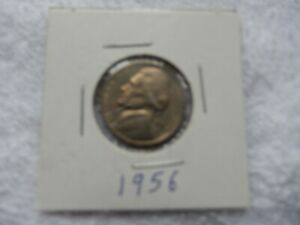 1956 JEFFERSON NICKEL CIRCULATED   PERFECT FOR COIN BOOKS