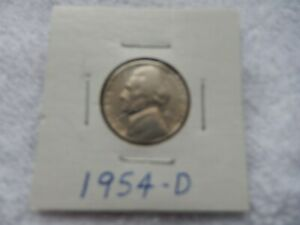 1954 D JEFFERSON NICKEL CIRCULATED   PERFECT FOR COIN BOOKS