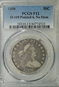 1806 DRAPED BUST HALF DOLLAR PCGS F12