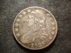 1828 XF DETAIL GRAFFITI CAPPED BUST HALF DOLLAR NICE LOOKING COIN