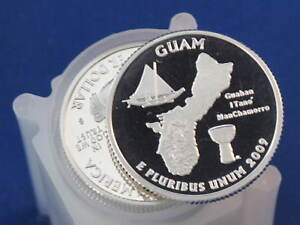 2009 S GUAM TERRITORIES SILVER QUARTER PROOF ROLL OF 40 COINS