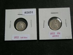 1853 P SEATED LIBERTY HALF DIME & 1853 P  SEATED LIBERTY DIME ARROWS  VG