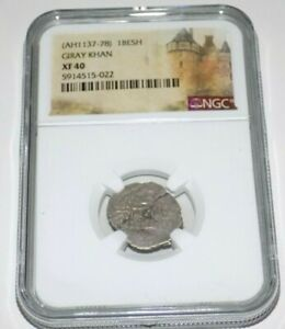 Click now to see the BUY IT NOW Price! AH 1137 78 GIRAY KHAN KHANATE OF CRIMEA CRIMEAN SILVER BESHLIK NGC AU50 COIN
