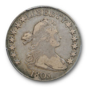1805 50C DRAPED BUST HALF DOLLAR PCGS VF 25 FINE TO EXTRA FINE CAC APPRO