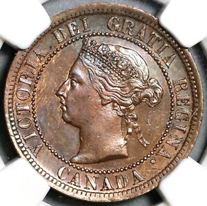 1891 NGC MS 62 CANADA 1 CENT LL LD VICTORIA LARGE LEAVES LARGE DATE  21020804C