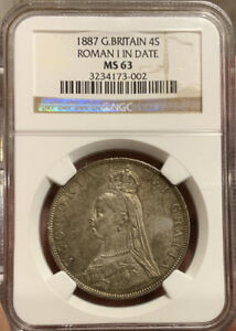 Click now to see the BUY IT NOW Price! DOUBLE FLORIN 1887 NGC MS63 ROMAN 1 IN DATE 4S GREAT BRITIAN