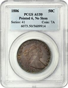 1806 50C PCGS AU50  POINTED 6 NO STEMS  GREAT TYPE COIN   BUST HALF DOLLAR