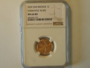 2009 SMS BRONZE ONE CENT NGC MS 66 RD UNC FORMATIVE YEARS