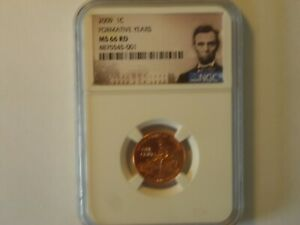 2009 1C ONE CENT NGC MS 66 RD UNC FORMATIVE YEARS