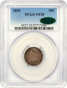 1835 10C PCGS/CAC VF35   BUST DIME