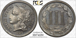 1887/6 3CN THREE CENT NICKEL PROOF PCGS PR 64 LOW MINTAGE KEY DATE PROOF ONLY