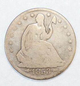 1853 O LIBERTY SEATED SILVER HALF DOLLAR WITH ARROWS & RAYS GOOD