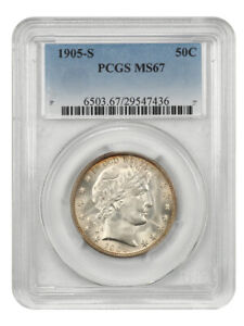 Click now to see the BUY IT NOW Price! 1905 S 50C PCGS MS67   BETTER S MINT   BARBER HALF DOLLAR   BETTER S MINT