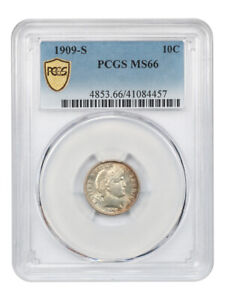 Click now to see the BUY IT NOW Price! 1909 S 10C PCGS MS66   BARBER DIME   SUPERB GEM