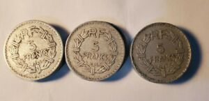 FRANCE 1945 1946 AND 1947 5 FRANCS COIN 3 COIN LOT.
