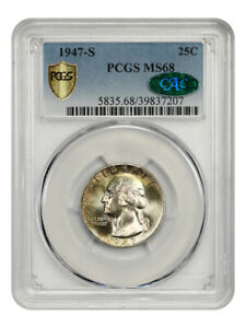 Click now to see the BUY IT NOW Price! 1947 S 25C PCGS/CAC MS68   WASHINGTON QUARTER   TIED FOR FINEST KNOWN